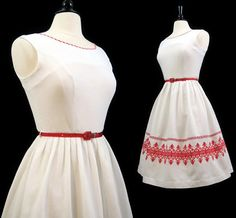 Hey, I found this really awesome Etsy listing at https://www.etsy.com/listing/238369503/vintage-50s-dress-embroidered-white
