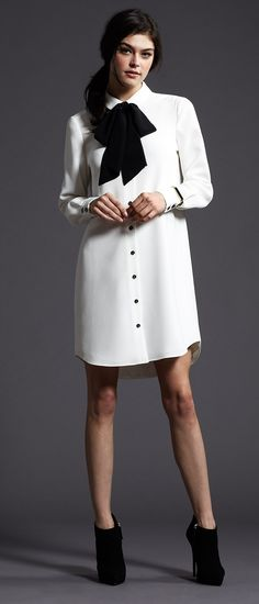Black, white and everything nice! Slip into Kate Spade's classic shirtdress for the perfect amount of girly charm! #Fashion