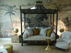 DE GOURNAY WALLPAPER - Early Views of India - Fabulous pagoda daybed.
