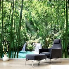 3D Bamboo Forest Small Waterfall Trees Wallpaper for Home or Business – beddingandbeyond.club