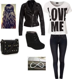 """""""high school day 1"""" by simone-nielsen-1 ❤ liked on Polyvore"""