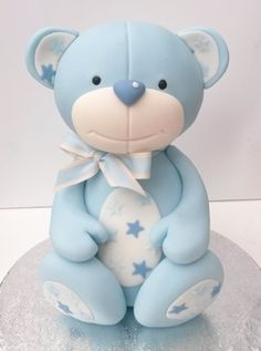 Sugarcraft > Teddy Bear Modelling with Karen Taylor – Squires Kitchen Cookery School Fondant Cake Toppers, Fondant Figures, Fondant Cakes, Cupcake Cakes, Baby Cake Topper, Fondant Teddy Bear, Teddy Bear Cakes, Cake Topper Tutorial, Fondant Tutorial