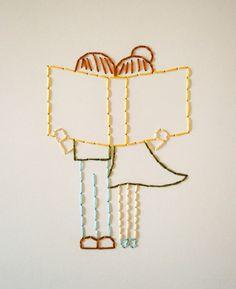 Book Love Stitched Artwork. $ 20.00, via Etsy.