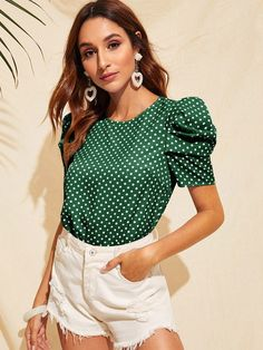 Shein Keyhole Back Puff Sleeve Polka Dot Blouse Polka Dot Blouse, Polka Dot Top, Cute Blouses, Blouses For Women, Summer Blouses, Stylish Tops, Look Fashion, Types Of Sleeves, Blouse Designs