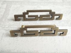 Chinese Style Symmetry Pulls Knobs / Pair Of Vintage by Anglehome