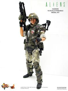 "US Colonial Marine (Pvt. Hudson) from ""Aliens,"" with M41A pulse rifle and range scanner..."