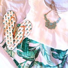 The perfect summertime outfit: pineapple flip flops {designed by Lauren Conrad} + palm leaf shorts .