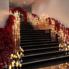 OVER THE TOP DECOR WITH CANDLES - Sonal J. Shah Event Consultants, LLC. Wedding Stage, Wedding Themes, Dream Wedding, Wedding Ideas, Reception Decorations, Event Decor, Wedding Staircase, Luxury Wedding Decor, Entrance Decor