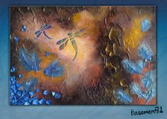 Mystical Dragonfly, autumnal brown and blue abstract textured acrylic painting on canvas. (CUSTOM) 18x24