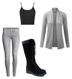 """grey and black"" by liniki on Polyvore featuring Topshop"