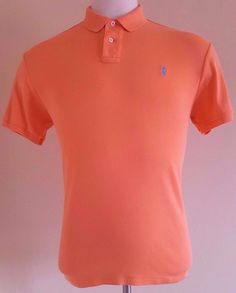 POLO Ralph LAUREN Custom FIT Interlock POLO Shirt LARGE Orange LIGHT Peach MENS* #PoloRalphLauren #PoloRugby