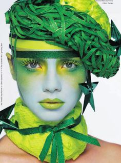 Editorial make-up.  Green, key lime and yellow.