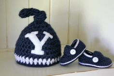 BYU Knotted beanie and matching loafers set. $38.00, via Etsy.