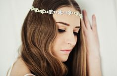Bohemian waves with a crystal bride tiara.