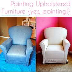 Painting Upholstered Furniture! She says it works great and makes the piece feel like its covered in outdoor fabric. Might have to try this!