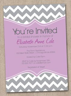 Printable Bridal Shower Invitations Purple by InkObsessionDesigns