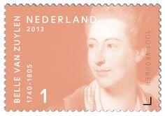 Belle van Zuylen (Zuylen 1740 – Colombier, Zwitserland 1805). Schrijfster. Internationaal is Belle van Zuylen een van de beroemdste schrijfsters van Nederland. Zij schreef in het Frans. Karakteristiek zijn haar woorden: 'Ik heb geen talent voor ondergeschiktheid'. In het buitenland is ze bekend onder de naam Isabelle de Charrière. In haar eigen tijd werd het werk van Belle van Zuylen zeer gewaardeerd.     http://collectclub.postnl.nl/pages/detail/s1/10220000001805-2-21010000000080.aspx