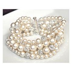 Pearl Cuff Bracelet, Chunky Wedding Bracelet, Rhinestone Pearl... ❤ liked on Polyvore