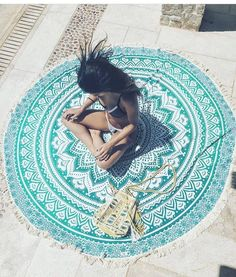 Fringed Boho Roundie - Beach and Picnic Beach Blanket, Picnic Blanket, Outdoor Blanket, Beach Bum, Beach Towel, Lobster Art, Stunning Girls, Beaded Bags, Summer Accessories