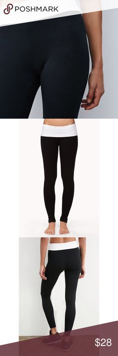 ➕Black/White Colorblock Running Tights Leggings ❤️ Pants Leggings