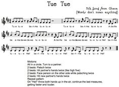 "Tue Tue, an african song to use in a ""Music Around the World"" theme."