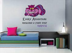 kcik1539 Full Color Wall decal Alice in Wonderland Cheshire Cat quote bedroom children's room