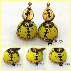 Terracotta Jhumkas with warli painting