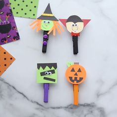 Oct 2019 - Make these fun and easy Halloween clothespins! Choose from a pumpkin, Frankenstein, witch or vampire. Free template available. Halloween Arts And Crafts, Halloween Crafts For Toddlers, Diy Halloween Decorations, Fall Crafts, Fall Halloween, Holiday Crafts, Decor Crafts, Halloween Labels, Diy Crafts