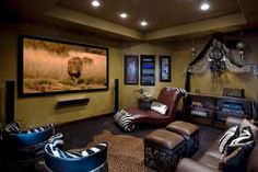 Living Room: Best Living Room Theaters With Leather Chaise Lounge And Pouffe Also Single Sofa And Chusion Also Rug And Downlight: Are You Dream of Best Living Room Theaters? Make it Real Here!