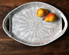 XL Handmade Pottery Platter - White Lace- Ceramic Serving Tray