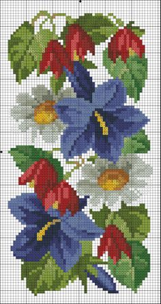 flower cross stitch -- clematis, daisy
