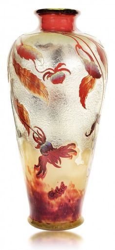 EMILE GALLÉ, FRENCH (1846-1904) : Fire polished cameo glass vase, circa 1900