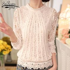 Cheap feminine blouses, Buy Quality blouse women directly from China top blouse Suppliers: 2018 New autumn Ladies White Blusas Women's Long Sleeve Chiffon Lace Crochet Tops Blouses Women Clothing Feminine Blouse Bluse Outfit, Look Chic, Lace Sleeves, Blouses For Women, Ladies Blouses, Ideias Fashion, Crochet Tops, Crochet Lace, Long Sleeve