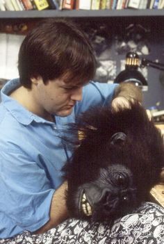 Richard Landon adjusts the hero animatronic gorilla head from CONGO.