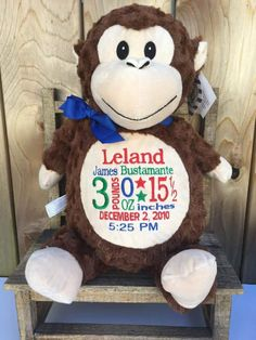Personalized baby gift birth announcement plush stuffed animal personalized baby gift monogrammed cubbies monkey new baby negle Image collections