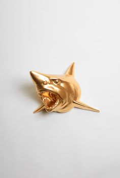 The Bartholomew - Gold Resin Shark Head- Shark Resin White Faux Taxidermy- Chic & Trendy Fish Mount — Designspiration