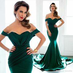 Emerald Green Formal Evening Dresses 2016 Arabic Off Shoulder Long Dresses Short Sleeve Mermaid Bridesmaid…