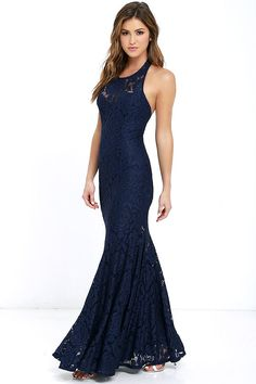 The epitome of style and class, the Live Forever Navy Blue Lace Maxi Dress is sure to stun! Floral lace glides effortlessly down a halter neckline (with hidden hook clasp closure and sweetheart silhouette) into a full maxi skirt with godets. Hidden back zipper/hook clasp.