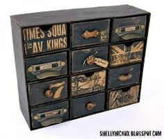 Sizzix Die Cutting Inspiration & Tips: Vintage embellishment chest w chipboard & th candy drawer die Ikea Inspiration, Altered Boxes, Altered Art, Furniture Makeover, Diy Furniture, Craft Tutorials, Craft Projects, Craft Storage, Ikea Storage