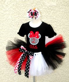 *Girls Minnie Mouse Silver Sequin Number Quick Ship Tutu Set