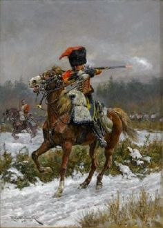 """Austerlitz """"The Outpost's driven in!"""" by Richard Caton Woodville Jr. (1910)"""