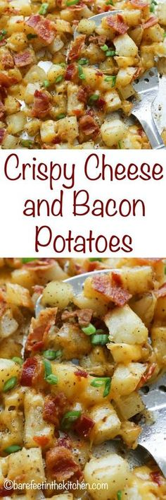 Crispy Cheese and Bacon Potatoes are great for breakfast, lunch, or dinner! get the recipe at http://barefeetinthekitchen.com