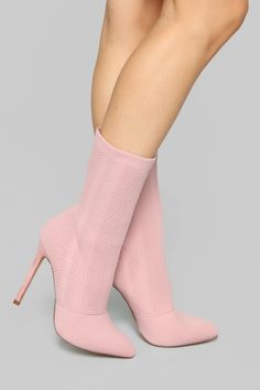 Available In Pink, Grey And Purple Inch Stiletto Heel Knit Sock Bootie Boho Sandals, Bare Foot Sandals, Pink Prom Shoes, Light Pink Heels, Socks And Heels, Shoes Heels, Pink Boots, Shoe Collection, Cute Shoes