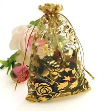 Wholesale 100pc/lot 9X12cm Gold Rose Color Christmas Bags Wedding Drawable Organza Voile Gift Packaging Bags Cheap Pouches Bags(China (Mainland))