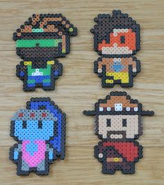 Overwatch pin badges / fridge magnets | Lúcio, Tracer, Widowmaker and McCree | Hama Perler bead designs | Handmade