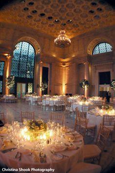 Art museum wedding reception soft lighting
