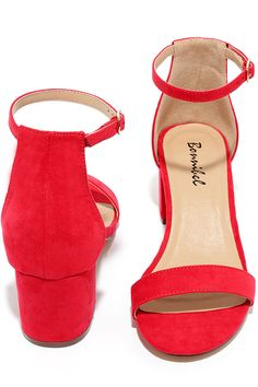 There's a version of the Babe Squad Red Suede Heeled Sandals for every gal in your group! These versatile vegan suede heels have a minimal upper with adjustable ankle strap, plus a low block heel. Gold buckle.