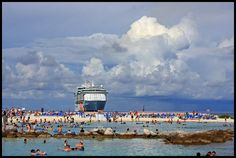 The Freedom of the Seas spills its cargo onto a private beach in the Bahamas. Freedom Of The Seas, Royal Caribbean Cruise, Dolores Park, Beach, Travel, Viajes, The Beach, Seaside, Destinations