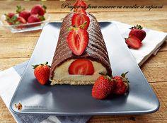 Prajitura fara coacere cu vanilie si capsuni Biscuits, Cheesecake, Strawberry, Sweets, Fruit, Healthy, Desserts, Recipes, Martha Stewart
