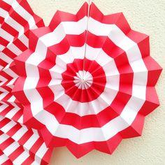 Small Red Stripe Paper Fan